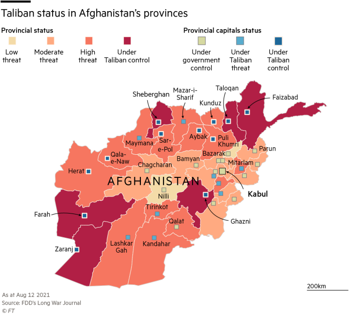 map showing Taliban status in Afghanistan on Aug 12 2021