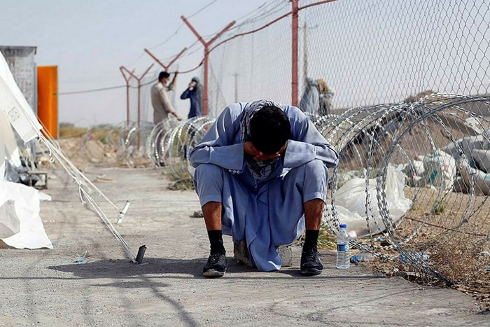 A man at the Iran-Afghanistan border between Afghanistan and the southeastern Iranian Sistan and Baluchestan province.