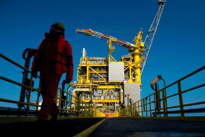 A worker on a platform in the Culzean gasfield in the North Sea, about 230km east of Aberdeen
