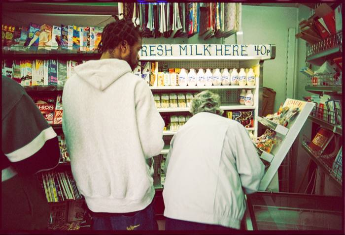 Method Man from The Wu-Tang Clan buying milk at a newsagent in Earl's Court