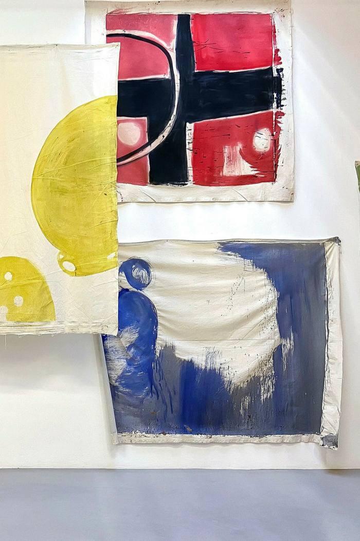 Vivian Suter's works at the 'Tintin's Sofa' exhibition at Camden Arts Centre, 202