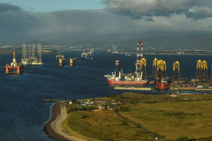 Mothballed oil rigs along with bases for new wind turbines in Scotland's Cromarty Firth