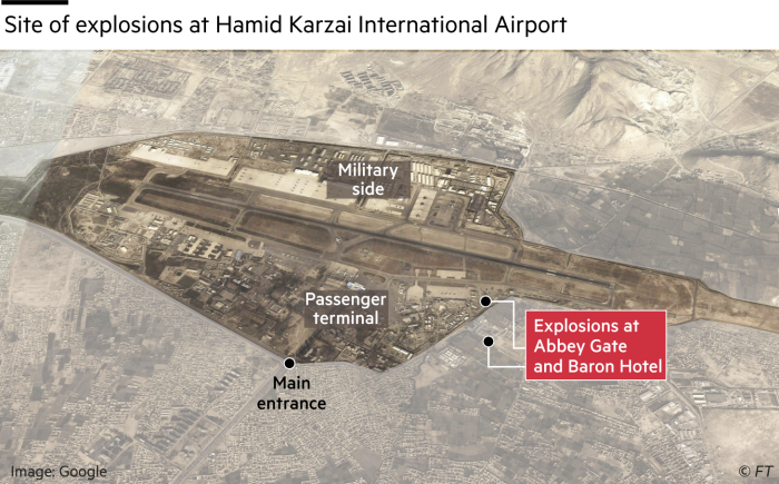 Map showing site of explosions at Hamid Karzai International Airport