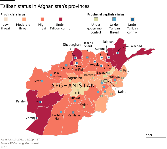 Afghanistan Taliban status map