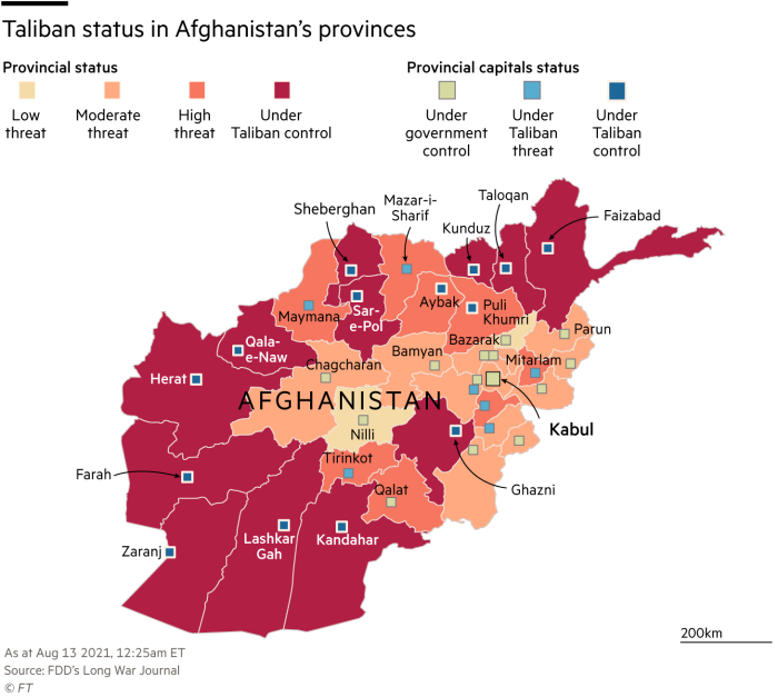 Map of status of Taliban in Afghanistan's provinces, Aug 13