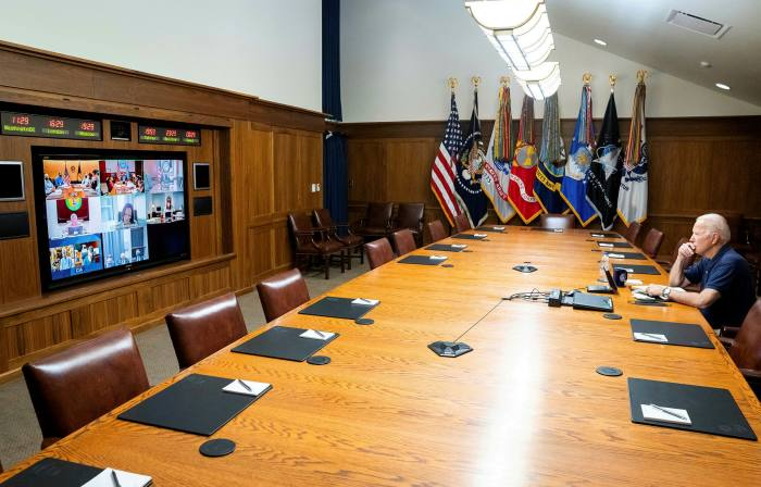 Joe Biden in a video meeting with Kamala Harris, their security team about the situation in Afghanistan